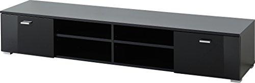 Germania 3666-83 Lowboard mit 2 Türen, in Schwarz Hochglanz, 160 x 30 x 40 cm (BxHxT)