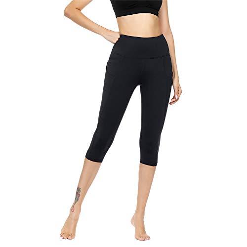 IceUnicorn Damen Sport Leggins Hohe Taille Tights 3/4 Yogahose Blickdichte Kurz Laufhos Fitness Hosen Jogginghose mit Taschen Short(3/4 Schwarz, S)