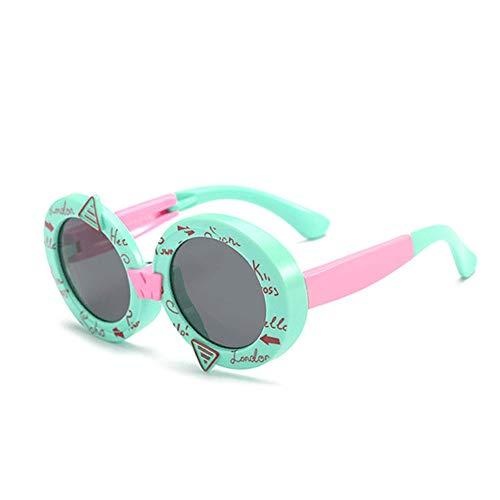 Wang-RX Kinder Faltbare Sonnenbrille Polarisierte Runde Retro Brillen Harz Sicherheitsrahmen Mode Brille Kinder Shades UV400