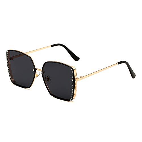 HQMGLASSES Women es Rimless Sonnenbrille Square Gold Frame Sparkling Rhinestone Celebrity Shades Sonnenbrille für Driving/Traveling, UV 400 Schutz,GrayLens (Versace Gold Herren Brille)