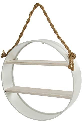 Chic Shabby Stil Weiß Holz (WOHNANDO Hängeregal Wandregal Loft rund - weiß im Landhaus Stil Shabby Chic modern Zum aufhängen)