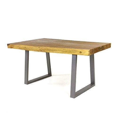 Divero Esstisch Baumtisch Suarholz-Tisch mit Baumkante Metallbeine – Massiv Geölt Modern Stabil Handarbeit – 160 x 80 x 76 cm – Sonderposten B-Ware