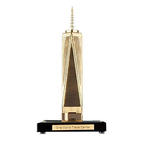 Hausstudie Sammlung Raum Glas New York New World Trade Center Boden Modell Handwerk professionelle Architekturmodell Dekoration Schießen Requisiten ( Color : Gold , Size : 7.5*7.5*14.5CM )