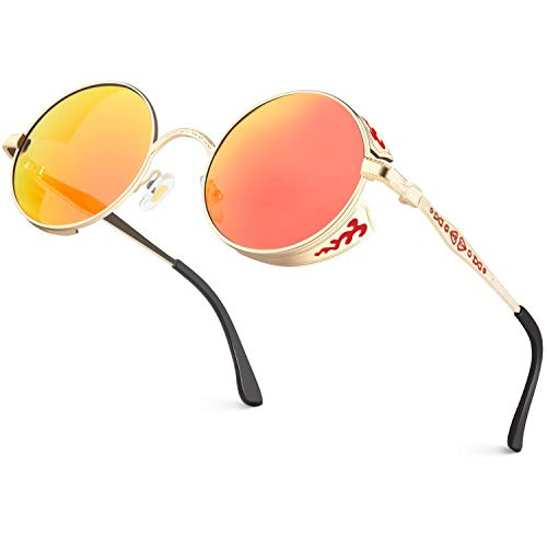 CGID Retro Sonnenbrille im Steampunk Stil runde Metallrahmen Polarisiert Brille Herren Damen Gold Rahmen Rote Orange Gläser Verspiegelt, CAT3, CE, E71 -