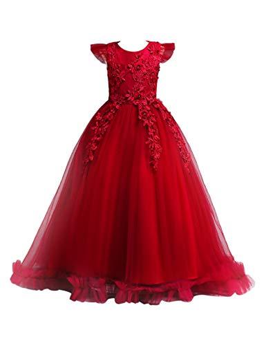 besbomig Weihnachten Hochzeit Abend Prinzessin Kleid Große Mädchen - Blütenblatt Bodenlänge Festzug Geburtstag Prinzessinenkleid Hochzeitskleid Outfits