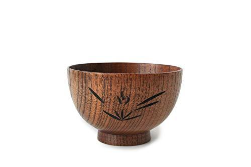 Bol en bois sculpté, meuble de cuisine, orchidée, découpant un bol de restaurant. (Size : 10.5×6.5cm)