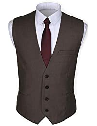 Ruth&Boaz Men's 3Pockets 4Button Business Suit Waistcoat