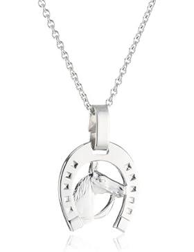 Xaana Kinder und Jugendliche Halskette Hufeisen mit Pferdekopf 925 Sterling Silber rhodiniert 36-38 cm AMZ0200