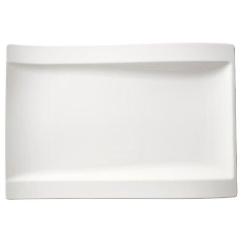 NewWave Gourmetteller / Eckiger Essteller aus Porzellan in Weiß / 1 x 37x25cm