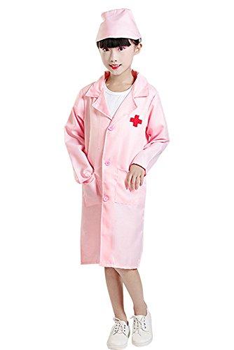 inder Junge Mädchen Mann Frau Doktor Bekleidung Krankenschwester Kostüme, Halloween Cosplay Kostüme, Mantel + Hut (Weiß,EU 140 = Tag 150) ()