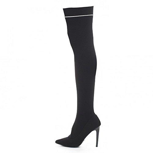 Ideal Shoes - Cuissardes en maille et talon aiguille Lahna Noir