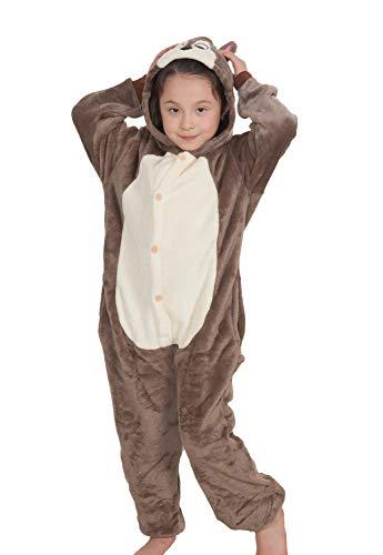 Chipmunk Tier Nachtwäsche Halloween Outfit Strampler Pyjama Erwachsene Kinder ()
