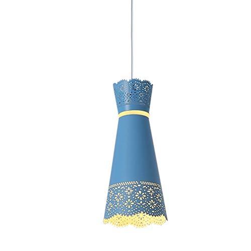 WFTD Moderne Eiserne Pendelleuchte, Kleid Hollow Design Bett Seite Pendant Light E14/E12 Lampenhalter, Geeignet Für Schlafzimmer Study Restaurant Cafe Hotel,Blue