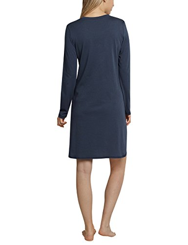Schiesser Damen Nachthemd Sleepshirt 1/1 Arm, 90cm Blau (Dunkelblau 803)
