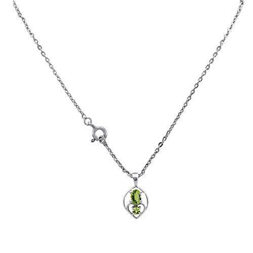 Orchid Jewelry Peridot Anhänger Halskette Sterling-Silber 925 Peridot Anhänger und Kette (0,58 Karat) - Charms Ring, Geburtsstein Halskette,