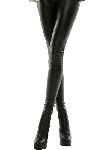 Shiny Leggings für Damen in Schwarz by Sassyclassy | Skinny-Leggings in Leder-Optik | Größe 38 | Stretch-Hose High Waist mit abgesteppten Biker-Knees | Hot Glanz PU-Lederleggings aus Kunstleder (Skinny-leder-pants)