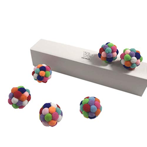 Kncobuec Katzenspielzeug, lustiges Spielzeug, 6 Stück, handgefertigt, bunt, umweltfreundlich, Plüsch, Bälle aus Filz, weich