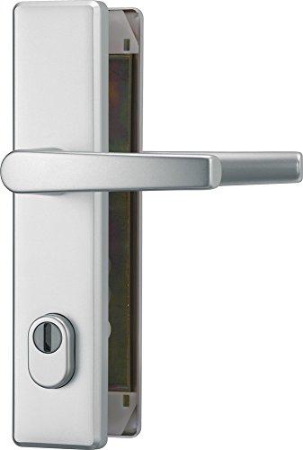 ABUS Tür-Schutzbeschlag HLZS814 F1 aluminium mit Zylinderschutz & beidseitigem Drücker eckig 20736 -