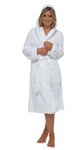 Donna Vestaglia Terry Towelling 100% Cotone Vestaglia Insignia White Hooded