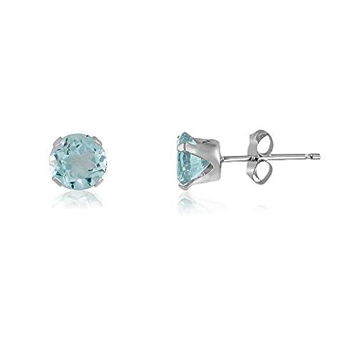 4MM Classic Brilliant Round Cut CZ Sterling Silver Stud Earrings-AQUAMARINE BLUE or Choose From 13 Colours. 4-AQUA