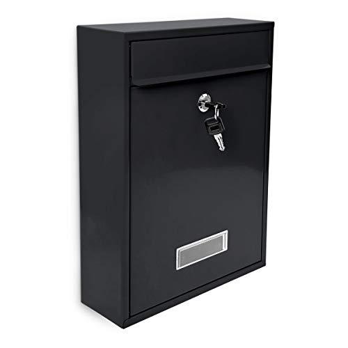 Design Briefkasten Metall Schwarz 26,5 x 35 x 8,5 cm