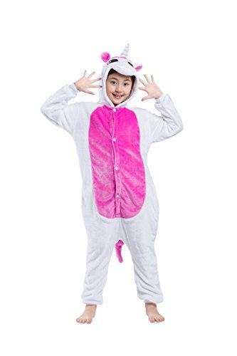 CuteOn Enfants Unisexe Animal Costume Cosplay Combinaison Pyjama Vêtements de nuit Soirée de Déguisement Rose Licorne 120(Suggéré Hauteur 114-122cm)