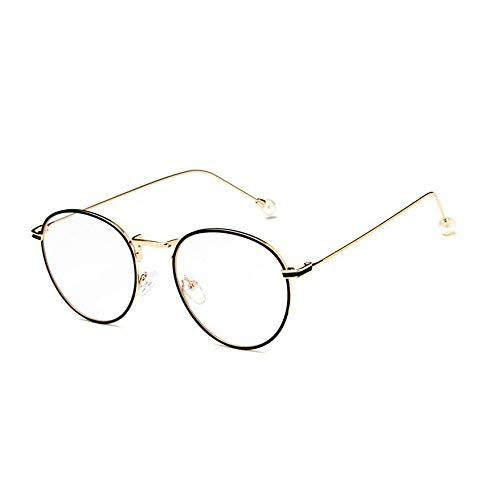 YMTP Perle Brille Männer Frauen Vintage Optische Brillen Brillengestell, Gold Schwarz
