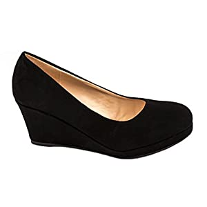 Elara Damen Pumps Keilabsatz Wedges Schuhe mit Plateau |Chunkyrayan