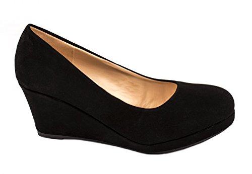 Damen Wedge Pump (Damen Pumps Keilabsatz Wedges Schuhe Hochzeit Farbe Schwarz, Größe 38)