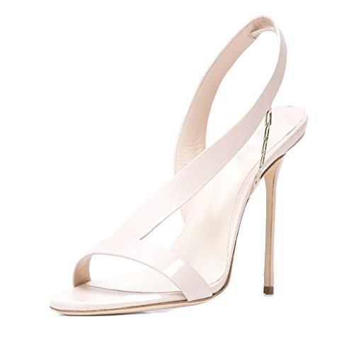 LYY.YY Frauen Bankett Sandalen High Heel Sandaletten Offene Zehe Fine Heel Low Hilfe Zurück Strap Fashion Sandalen Weiß Hochzeit Schuhe Brautschuhe (Absatzhöhe: 11-13Cm),White,46
