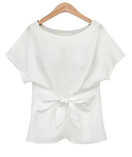 Camicia Donna T Shirt Manica Corta Chiffon Sciolto Camicetta Bluse Maglietta Top Shirts Bianco