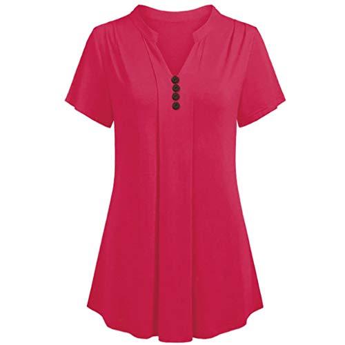 OIKAY Damen Große Größe Casual Tunika Tops Bluse Plus Size Kurzarm V-Ausschnitt Lose T-Shirt (Vampir Baseball Kostüm)