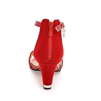LvYuan Da donna-Sandali-Formale Casual Serata e festa-Club Shoes-Quadrato-Finta pelle-Nero Rosso Black