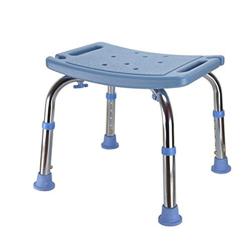 WENTAO Bad/Duschhocker Verstellbare Höhe 5 Gang/Aluminium Und PE Kunststoff/Für Behinderte/Senioren/Schwangere Maximale Statische Belastung 136 Kg, Blue