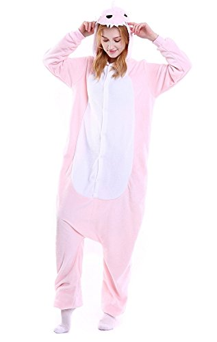 ABYED Kigurumi Pijamas Unisexo Adulto Traje Disfraz Adulto Animal Pyjamas,dinosaurio de color rosa Adulto Talla M -para Altura 159-166CM