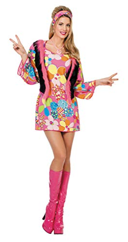 Karneval-Klamotten Flower Power Damen-Kostüm Blumen bunt Größe 34