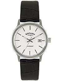 Rotary Men's Quartz Watch with White Dial Analogue Display and Black Leather Strap GS02874/06