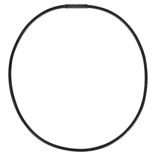 Auroris Echtleder Kette schwarz Dicke 3mm mit Tunnel-Drehverschluss aus matt-schwarzem Edelstahl Länge 42 cm