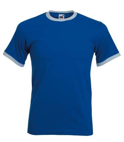Fruit of the Loom Ringer T-Shirt, vers. Farben S,Royal Blau / Weiß