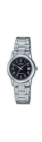 Casio # Ltp-v002d-1b Femme Standard en acier inoxydable Cadran noir Date montre