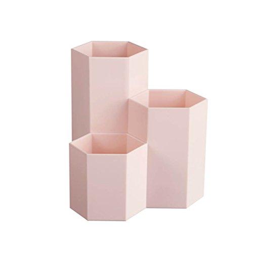 Toymytoy portapenne da scrivania ufficio in plastica 3 bicchieri portapenne portaspazzolini portamatite e pennelli in rosa