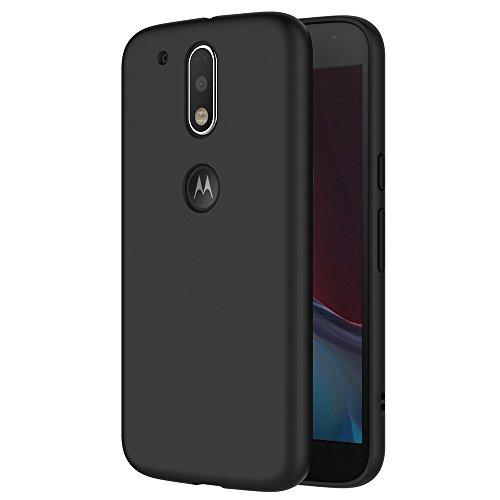 Galleria fotografica Cover per Motorola Moto G4 / G4 Plus, AICEK Cover Moto G4 / G4 Plus Nero Silicone Case Molle di TPU Sottile Custodia per Lenovo Moto G4 / G4 Plus