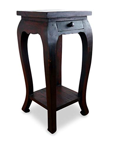 livasia Opiumtisch, extrahoch mit Schublade, asiatischer Massivholztisch der Marke Asia Wohnstudio, Beistelltisch, Asia Möbelstück, Thailand (Handarbeit)
