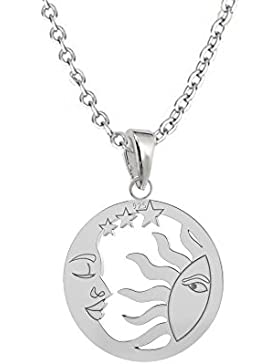 GH1a Sonne Mond & Sterne ANHÄNGER mit KETTE 925 Echt Silber