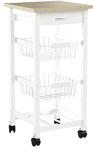 Kit Closet 7040028002 - Carro de cocina con cestas + botellero, madera, 37 x 37 x 76 cm
