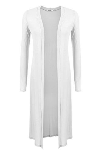 Meaneor Damen Strickjacke Cardigan Maxi Offene Mantel Jacke Strickmantel Lose Langarmshirt  Größe:  EU 36(Herstellergröße: S),  Farbe: Weiß2