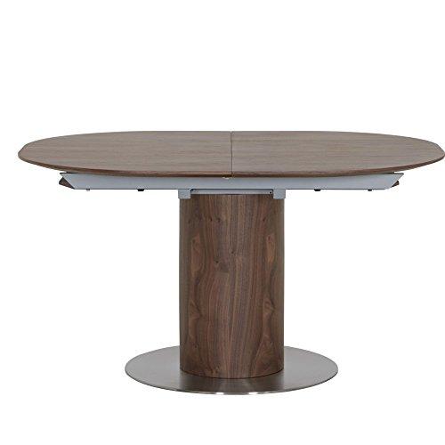 HOMY Esstisch Holz oval / Nussbaum furniert ausziehbar 1 Einlegeplatte 140-180x75x110cm - Morrena
