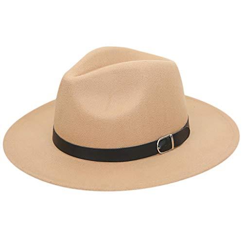 (LILIGOD Wool Hut Felt Outback Kaschmir Panama Hat Wide Brim Crushable Wolle Gürtel Chapeau Belt Vintage Hat Frau Bogen Pelzmütze)