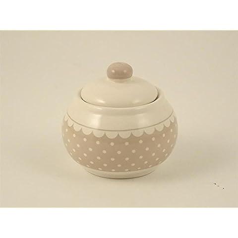 Zuccheriera ceramica grigia pois bianchi Ø10xH9 cm contenitore shabby chic