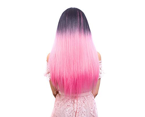 glatte Haare Farbverlauf Kopfbedeckung schwarze Farbverlauf Fett lange Perücke ()